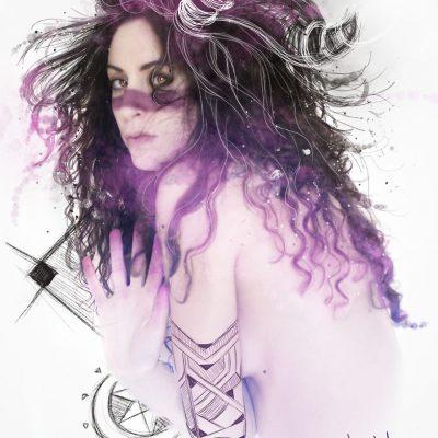 photo, dessin numérique, femme,couleur