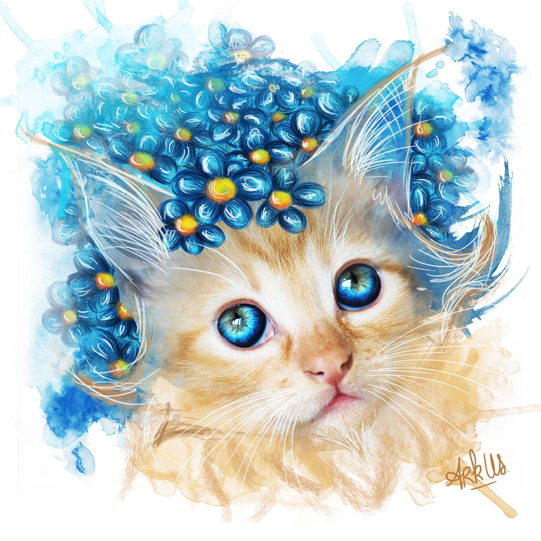 chat,dessin,photo,fleurs,bleu,jaune,roux
