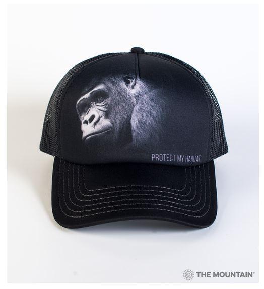 casquette hat cap gorilla gorille noir et blanc portrait photo photographie animaux protégé protection