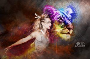 cancer,sein,crabe,femme,jeune,ensemble,dali,photo,photographie,cause,sensibiliser,sante,photographe,var,toulon,paca,france,groupe, campagne, sensibilisation, depistage, chaman,plume,indien,lion,lionne,esprit,couleurs,coloré, peinture