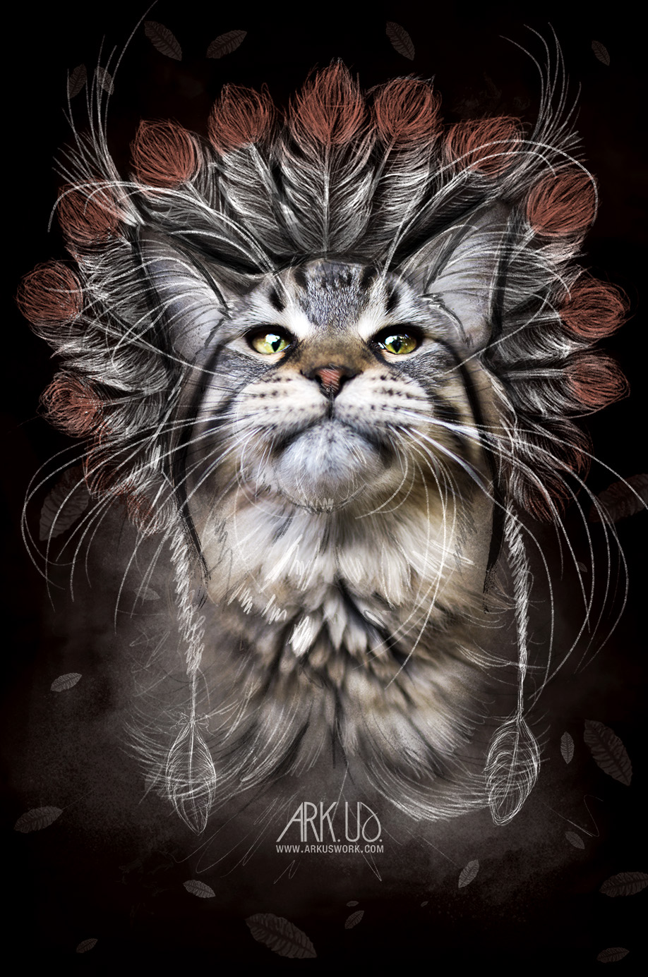 chat,totem,indien,amerindien,plume,rouge,felin,animal,compagnie,maine coon,digital,art,artwork,dessin,numerique,photoshop,photo,photographie