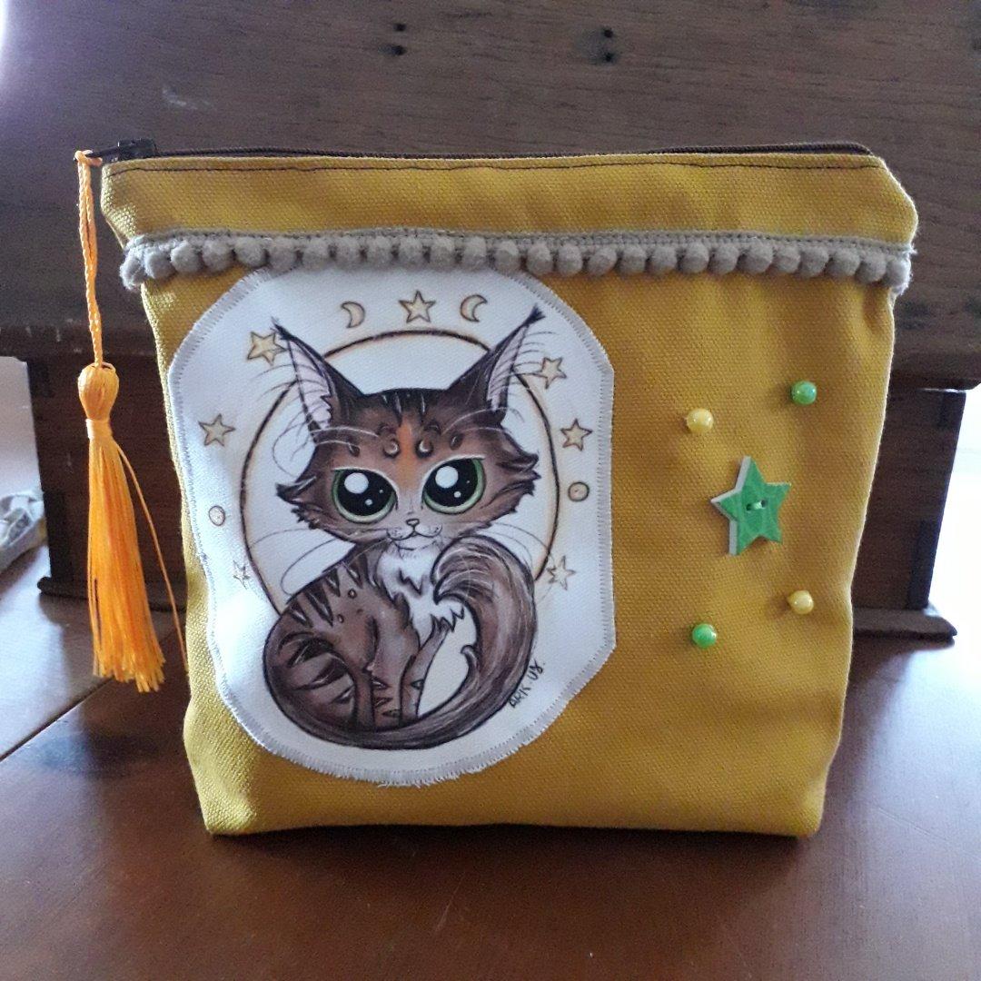 pochette artisanat fait main coupon tissus dessin personnalisé chat var toulon paca