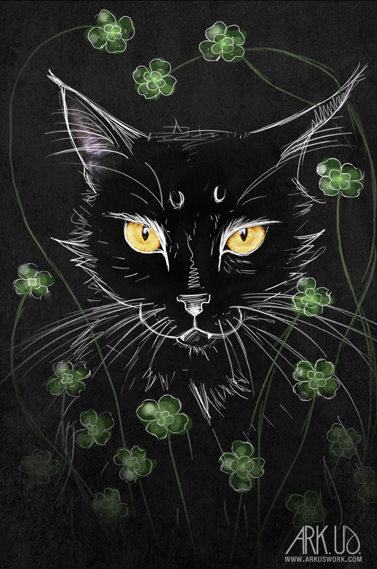 chat, noir, superstition, bonheur, trèfle,felin,animal,compagnie,maine coon,digital,art,artwork,dessin,numerique,photoshop,photo,photographie